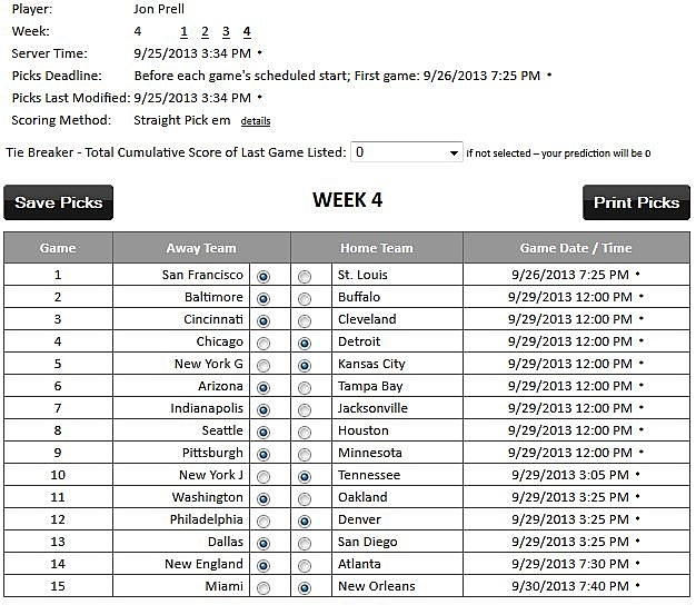 Jon's picks week 4