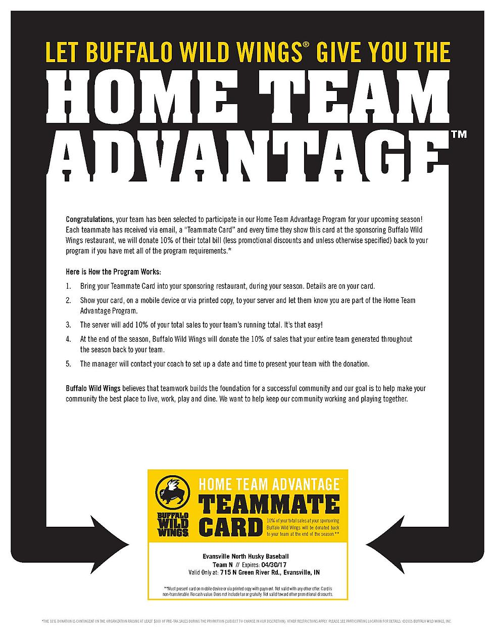 North Baseball Fundraiser Buffalo Wild Wings Green River Rd