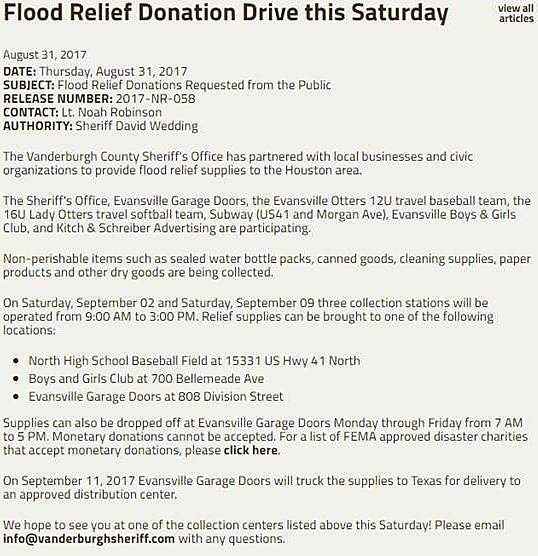 evansville garage doorsBoys and Girls Club Collecting For Hurricane Victims